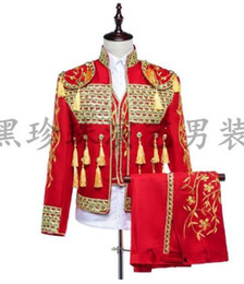 Wholesale Korean Sequin Dresses - Red men suits designs masculino homme terno stage costumes for singers men sequin blazer dance clothes jacket style dress korean