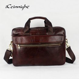 Wholesale Cheap Leather Briefcases Men - iCeinnight 100% Genuine Leather Handbags Briefcase Business Vintage Men Messenger Bags Solid Shoulder Bag Laptop Bags Very Cheap