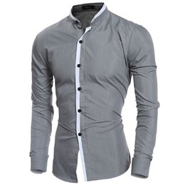 Wholesale Dress Shirts For Mens - Wholesale- 2016 Fashion Mandarin collar Solid Mens Dress Shirts Long sleeve Slim Fit Casual Social Camisas Masculinas for Man Chemise homme