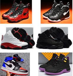 Wholesale Youth Golf - 2018 Air Foams One Pro Penny Hardaway Children Basketball Shoes Retro 1 12 13 Youth Sports Girl Trainers Sneakers 28-35