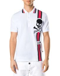 Wholesale Men Slim Fit Shirts Gray - Tom Men Fashion European Top Brand Mens Short PoloShirt Fit Slim Desinger Print Rhinestone Skulls Casual l Mens T-Shirts P18364-68
