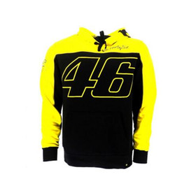Wholesale moto gp jacket - Valentino Rossi Moto GP VR46 Large 46 Yellow Panel Hoodie Black Sweater