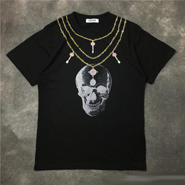 Wholesale Men S Skull Necklace - Hip Hop 3D Printing T-Shirt Skull Necklace Short Sleeve Tees Men Women Streetwear White Black Punk Tee 100% Cotton Clubwear
