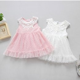 Wholesale Summer Dresses For Kids Sale - Hot Sale Baby Girls Dresses Children Princess Girl Lace Party Dress Dots Flower Gauze Tulle Dresses For Kid Girls Pink White A6758