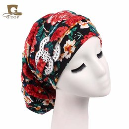Wholesale Cheap New Fitted Caps - Cheap New vintage Turban floral Dreadlocks Braids Cap comfortable slouchy baggy hat chemo cap Bandana Hair Loss Bonnet Tube