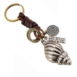 Wholesale Genuine Leather Bags Antique - 10PCS Copper Alloy Conch Bag Keychain Genuine Leather Men Punk Car Keyfobs Chaveiro Creative Women Jewelry Gift Wholesale FY028