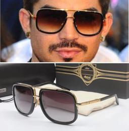 Wholesale Newest Brand Sunglasses - Fashion Luxury Sunglasses 2017 Newest Brand Designer Metal Square Sun glasses Men Women Sunglasses 60mm Gafas de sol mujer with case and box