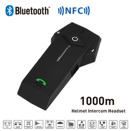 Wholesale Helmets Intercom Mp3 - Wholesale- New 1000M BT NFC FM Radio Function Motorcycle Helmet Bluetooth Intercom Headset Interphone Headphone For Phone GPS MP3