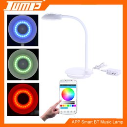 Wholesale Light Drawing Tables Wholesale - Desk lamp RGBW LED Bluetooth table Lamp Touch switch White modern fashion design Soft lighting protects eyesight Light and music enjoy