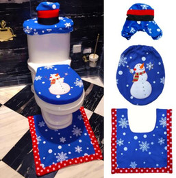 Wholesale Wholesale Padded Toilet Seats - Christmas Snowman Toilet Seat Cover Foot Pad Water Tank Cover Bathroom Christmas Decorations TOP1975