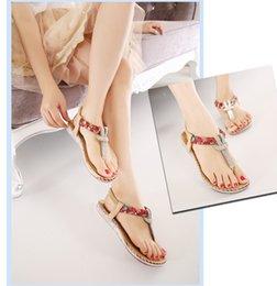 Wholesale Sew Back Flat Rhinestone - Folk Sandals Bohemia Rhinestone Big Size Flat Heel Women Shoes,EUR SIZE:35-42,Two Style For Choose