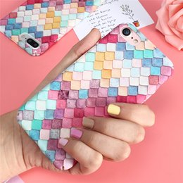 Wholesale Cute Korean Iphone Cases - Pink Cute 3D Colorful Fish Scales Phone Cases Rainbow Squama Hard Back Cover Coque Korean Girls Mermaid Cover For iPhone 6 7 6S plus 5 5S SE