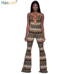 Wholesale Wholesale African Print - Wholesale- HAOYUAN African Print Backless Halter Wide Leg Sexy Jumpsuit Deep-V Sleeveless 2017 Summer Club Party Rompers Womens Jumpsuit