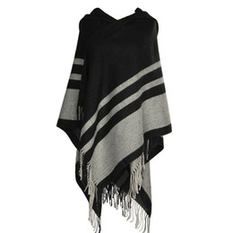 Wholesale Womens Winter Scarfs - New Womens Tassel Poncho Shawl Ladies Knitted Hooded Wrap Cape Winter Scarf Blanket Soft For Womens Autumn Winter Scarves