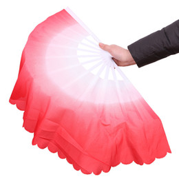 Wholesale Stage Dance - Dance Fans Fashion Gradient Color Chinese Real Silk Dance Veil Fan KungFu Belly Dancing Fans For Wedding Party Gift Favor Or Stage Show