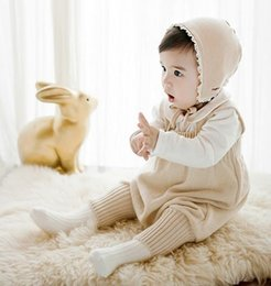 Wholesale Baby Knitted Pants - New Spring Autumn Infant Baby Knitted Short Rompers Sweater Suspender Pants Children Knitwear Overalls Jumpsuits Babies Climb Clothes