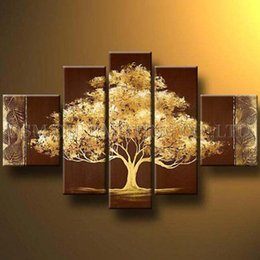 Wholesale Tree Artist Oil Paintings - Excellent Artist Handmade High Quality Abstract Gold Oil Painting on Canvas Beautiful Abstract Golden Tree Oil Painting for Wall