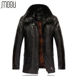 Wholesale 7xl Winter Coats - Wholesale- Leather Jack Mens Winter Jacket Plus Size 7XL Fur Collar PU Leather Jackets For Men Solid Long Men's Warm Coats