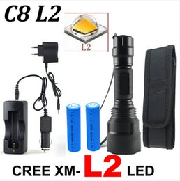 Wholesale Cree Xml C8 T6 Batteries - Drop shipping CREE C8 4000 lumens cree xml t6 L2 high power led flashlight +DC Car Charger+2*18650 battery+Holster LED Torch Light Lamp