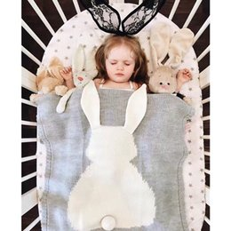 Wholesale Rabbit Bedding - 2018 Cotton Knit Blankets Swaddling Boys Girls Baby Wool Blanket Cartoon Rabbit Toddler Air Conditioner Quilts Kids Nursery Bedding