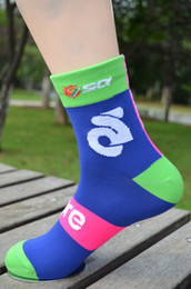 Wholesale Pro Sports Football - 2 Pairs team lampre cycling Socks quick dry breathable Blue Pink pro team sports socks With breathable Coolmax Material
