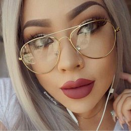 Wholesale Clear Lens Fashion Glasses Women - Classic Clear lens Women Men Mirror Sunglasses Brand Designer Fashion Optics transparent Eyeglasses Sun Glasses Vintage Cheap