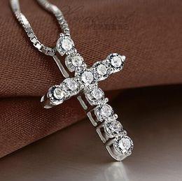 Agood fashion silver cruz collares cruz collares colgantes mujer collier femme wedding party accesorios de joyería para mujeres desde fabricantes