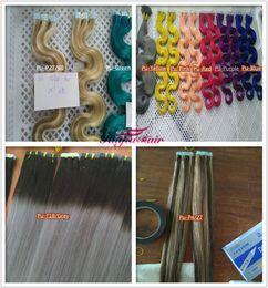 "Wholesale Extension Tapes - Top quality 7A-- indian remy human hair body wave Pu tape hair extension 16"" Color4#-20pcs & 20'' Color33# 40pcs 2.5g per piece"
