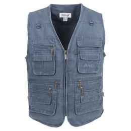 Wholesale Long Hooded Down Vests - 2017 Men's Clothing Cotton Casual Men Vest With Many Pockets Regular Plus Large Size 10XL With 5 Colors Vest Men Zipper Vest