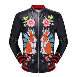 Wholesale Coat Paint Black - The new men's hand embroidered flowers Cupid universe leather jacket embroidered tiger motorcycle jacket coat collar male literati leisure s