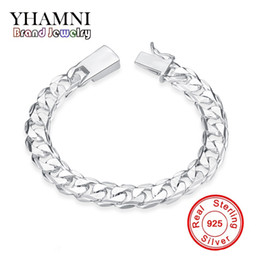 Wholesale European Wedding Charm Bracelet - YHAMNI Original Fashion 925 Jewelry Pure Silver charm Bracelet 925 silver jewelry 10mm Square Lock Bracelet H032