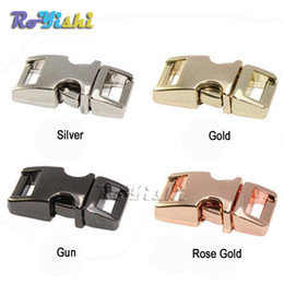 "Wholesale Wholesale Dog Collar Buckles - 10pcs lot 3 8""(10mm) 4 color metal paracord buckle side release buckle small dog collar clips Paracord Shackles Accessories"