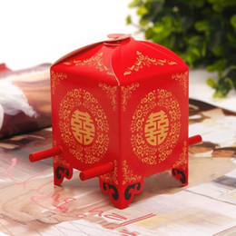 Wholesale Wedding Box Chair - 150pcs lot Chinese Asian Style Red Double Happiness Sedan Chair Wedding favor box party gift favor candy box