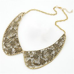 Wholesale Lemon Necklace - Wholesale- Lemon Value Vintage Boho Collar Fashion Charms Metal Carved Hollow Out Punk Necklace Statement Maxi Women Jewelry Collier A294