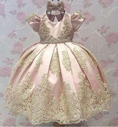 Wholesale Hot Pink Pageant Dresses Girls - Hot Sale Newest Pink Short Sleeve Flower Girl Dresses Satin Appliques Kids Pageant Dresses Kids Party Dress
