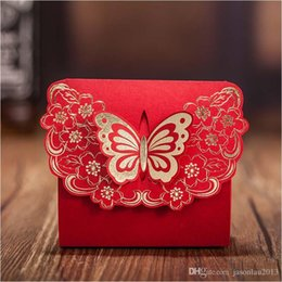 Wholesale Chinese Favor Boxes Cheap - Cheap Butterfly Wedding Favor Box Gold Red Candy Boxes Paper Gift Box for Party Casamento Wedding Favors And Gifts Boxes