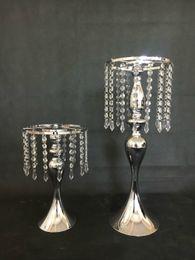 Wholesale Elegant Candles - Crystal Rhinestone Candelabra for Wedding Party Elegant Candle Holder Pretty Table Centerpiece Vase Stand Candlestick Wedding Decoration