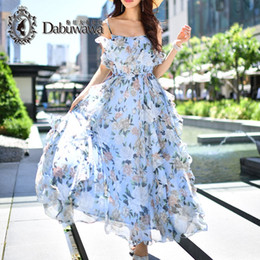 Wholesale Casual Skirt Designs For Women - Dabuwawa Women Summer Beach Dresses Holiday Skirt Maxi Floral Boho Bohemian Dresses Designed Elegant Flower Dress For Special Occasions