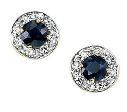 Wholesale 9ct Gold - Stud Earrings Round Sapphire & Pave Diamond Set 9ct Yellow Gold Earrings