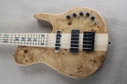 Wholesale One Piece Basses - Fodera 5 Strings Burl Maple Top Electric Bass Guitar One Piece Maple Neck Thru Body Active Pickups 9V Battery Box Butterfly Abalone Inlay