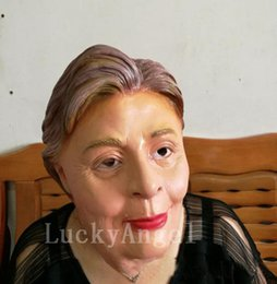 Wholesale Famous Halloween Masks - Wholesale- US President Candidate Hillary Clinton Latex Mask For Fans All Party Famous Lawyers Politicians Hillary Diane Same Masks