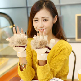 Wholesale Touch Screen Glove Cotton - Wholesale- winter women gloves Rabbit fur clamshell gloves girl Multi-function Knitted Touch Screen Winter female Gloves Soft Warm Mitten
