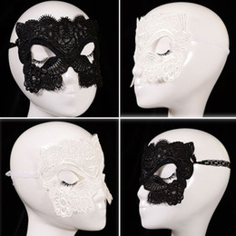 Wholesale Venetian Masquerade - Halloween Sexy Masquerade Masks Black White Lace Masks Venetian Half Face Mask for Christmas Cosplay Party Eye Masks WX-M06