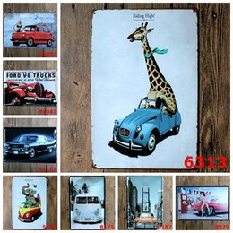 Wholesale Famous Craft - Famous car VW Van elephant Giraffe Vintage Craft Tin Sign Retro Metal Painting Poster Bar Pub Signs Wall Art Sticker