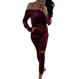 Wholesale Women S Fashion Bodysuits Wholesale - Wholesale- Fashion Women Jumpsuit Off Shoulder Shiny Velvet Bodysuits Rompers Sexy Long sleeve bodycon Ladies Evening Night Party Playsuits