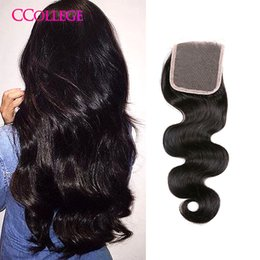 Wholesale Cheap Closures Body Wave - 8A Grade Malaysian Lace Closure Cheap Ccollege Hair Company Product Malaysian Closure Body Wave Virgin Human Hair Closure With Bangs On Sale