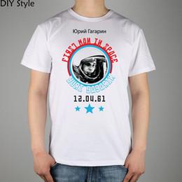 Wholesale Ussr Gold - Wholesale- USSR CCCP Soviet cosmonaut Yuri Gagarin T-shirt Top Lycra Cotton Men T shirt New Design High Quality Digital Inkjet Printing