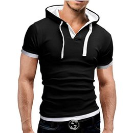 Wholesale Unique Designs Mens Shirts - Wholesale- Brand Hoody T shirt Men Unique Hooded Design Mens Short Sleeve Cotton Tee Shirt Casual Slim Fit Tshirt Men Black T-shirt Xxl