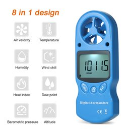 medidores de calor Rebajas 8 en mini Anemómetro digital velocidad del viento / temperatura / humedad / enfriamiento del viento / índice de calor / punto de rocío / presión barométrica / medidor de altitud
