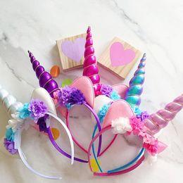 Wholesale Hair For Halloween - Children DIY Glitter Metallic Unicorn Headband Baby Girls And Kids Easter Bonus for Flowers Party cosplay Halloween DIY Hair Accessoriess